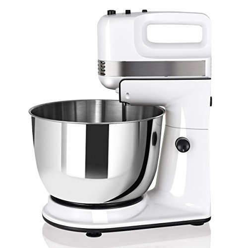 COSTWAY Stand Mixer, 200W Stand Mixer with 5-Speed Control Hand Mixer with Stainless Steel Mixing Bowl, Dough Hooks & Beaters Stainless Steel Bowl, Kitchen Mixer (White)