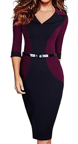Neck 1 Pockets 3 Jaycargogo Sleeve with Pencil Official V Women's Dress 4 Bodycon EqwWF17