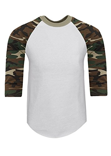 3/4 Sleeve Raglan Jersey - RA0146_XL Baseball T Shirts Raglan 3/4 Sleeves Tee Cotton Jersey S-5XL White/Camo Green 1X
