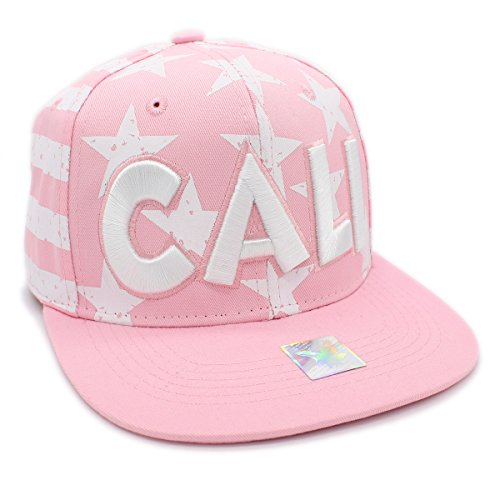Cap Embroidered Screen Print - Embroidered CALI FLAG SCREEN PRINT Cotton Snapback Cap Baseball Hat (PINK)