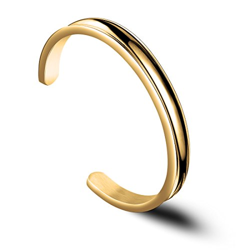Zuo Bao Hair Tie Bracelet Stainless Steel Grooved Cuff Bangle for Women Girls (Gold)