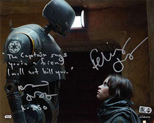 ALAN TUDYK FELICITY JONES SIGNED 8x10 PHOTO + HUGE QUOTE STAR WARS BECKETT BAS