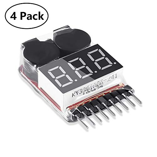 RC 1-8S Lipo Battery Voltage Tester, 4PCS BX100 Low Voltage Checker Super Sound Warning Buzzer Alarm with LED Indicator ()