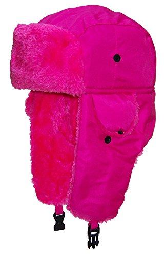 (Best Winter Hats Big Kids Lightweight Neon Russian/Trooper Faux Fur Hat(One Size)-Pink)