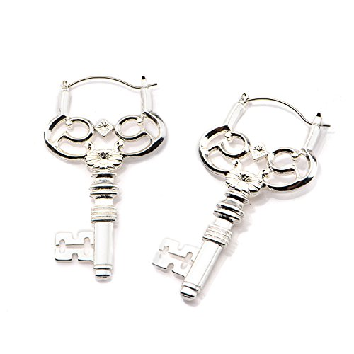 20g Steampunk Key Hoop earrings black color Sold AS PAIR w 35