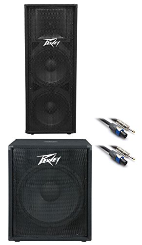 Peavey PV215 Dual 15'' Speaker + PV118 18'' Subwoofer Sub +(2) FREE Speaker Cables by Peavey