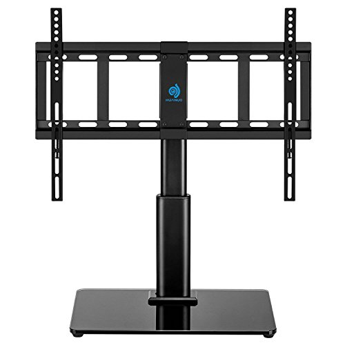 Universal Table Top TV Stand for 32 to 60 inch TVs with 40 Degree Swivel, Height Adjustable Stands with 4.7 inch Adjustment,Tempered Glass Base,Hold up to 60lbs TVs by HUANUO