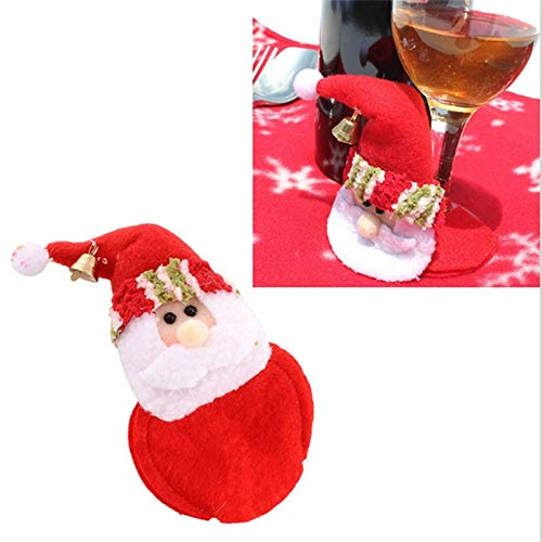 STORE-HOMER - Christmas Santa Claus Dinner Goblet Wine Cup Glass Mat Pad Table Decor Gift Santa Claus Cup Mat Christmas Wine Glass Foot Cover