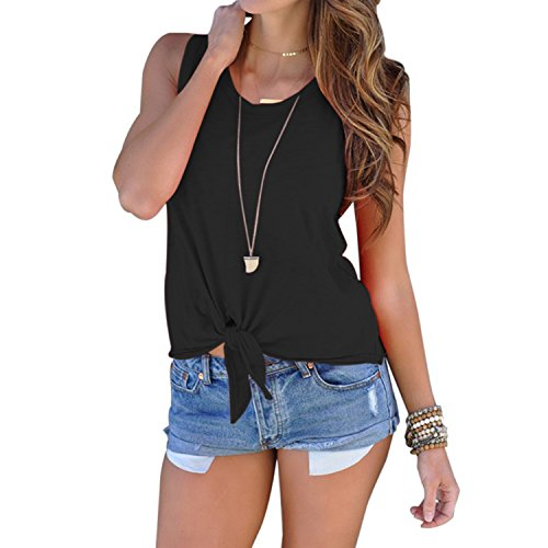 Domy Women's Casual Summer Top Sleeveless Tie Front Knot Blouse Cami Tank Tops
