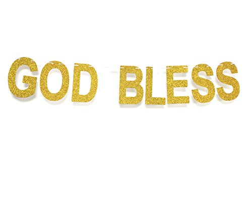 God Bless Baptism Banner Gold Glitter Letter Sign,Communion Party  Banner,Christening Decoration for Wedding, Baby Shower Party