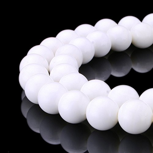 (jennysun2010 Natural White Alabaster Gemstone 8mm Smooth Round Loose 50pcs Beads 1 Strand for Bracelet Necklace Earrings Jewelry Making Crafts Design Healing)
