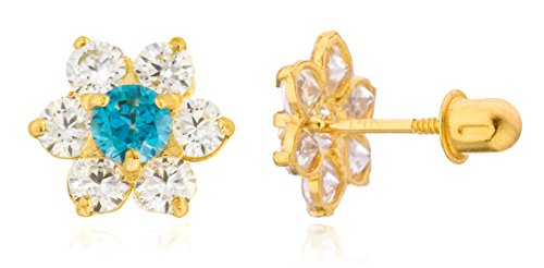 Gold Simulated Stone Earrings (Choose Your Month! - 14k Yellow Gold with Cz Childrens Simulated Birthstone Flower Screw Back Stud Earrings (December) (GO-1165))