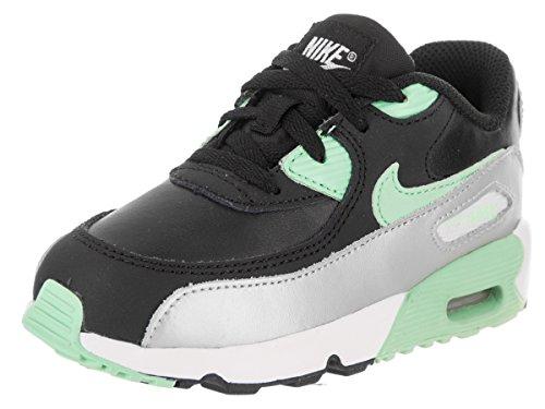 NIKE Toddlers Air Max 90 LTR (TD) Black/Green Glow Mtlc Platinum Running Shoe 6 Infants US
