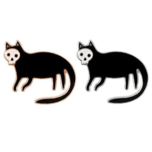 Charmart Skeleton Black Cat Lapel Pin 2 Piece Set Skull Cat Kitten Enamel Brooch Pins Accessories Badge Gifts Gold Silver
