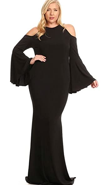 Fashion Black Bell Sleeves 2165 Sexy Hourglass Mermaid Gown Maxi