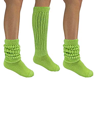 Lime Green All Cotton 3 Pack Extra Heavy Super Slouch Socks -