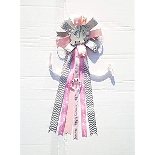 Elephant Baby Shower Corsage Safari Girl Mommy To Be Chevron Theme Baby  Shower (Pink, White, Gray)