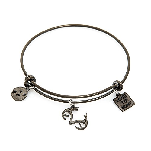 Apg Arrows (Realtree Stacking Charm Bracelet Stainless Steel Gunmetal with Antler, Deer Track, Love to Hunt Charms)