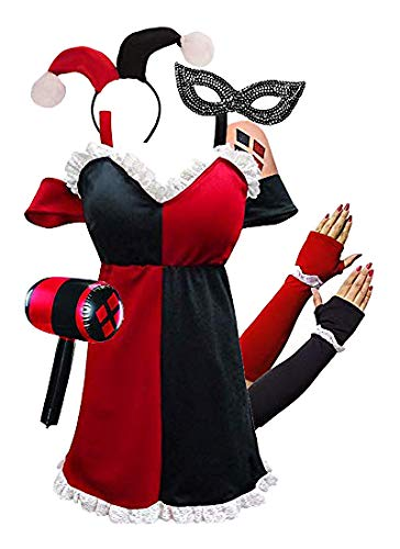 Sanctuarie Designs Plus Size HarleQuin Costume Dress + Harley Quinn  Halloween Accessories Deluxe Kit