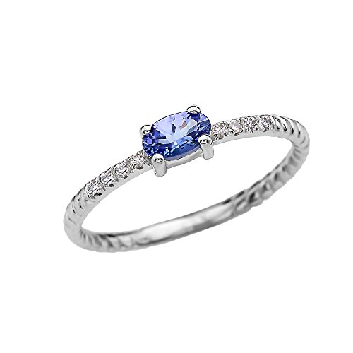 Dainty 14k White Gold Diamond and Solitaire Oval Tanzanite Rope Design Stackable/Proposal Ring(Size 6.25)