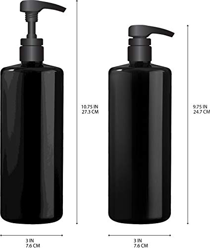 Bar5F Empty Shampoo Bottle with Lotion Pump, Black, Great 1 Liter/32 Ounce Refillable Dispensing Containers for Conditioner, Body Wash, Hair Gel, Liquid Soap, DIY Lotion's and Massage Oil's (PK 3)