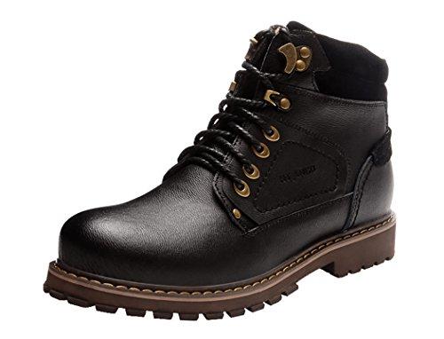 HTARCO Men's High-Top Fasion Patch Work Utility Shoes(6.5D(M)US,black)