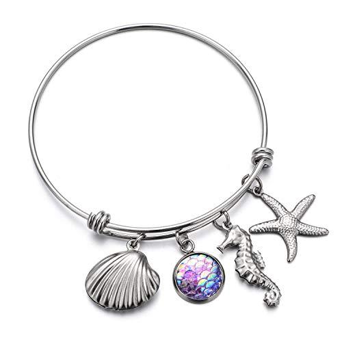 Summer beach Ocean Sea Themed bracelets for Women Mermaid Starfish Palm Tree Lovers Gifts Bangle Jewelry (Best Palm Beach Jewelry Bracelets)