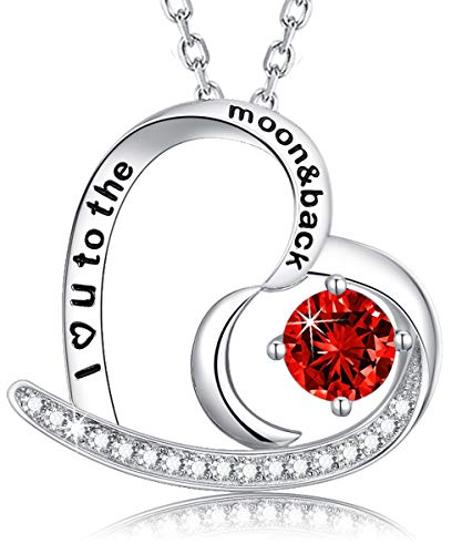 - July Birthstone Necklace created Ruby Pendant I Love you to the Moon and Back Love Heart Half Moon Necklace Fine Jewelry for Women Teen Girls Birthday Anniversary Gifts for Her