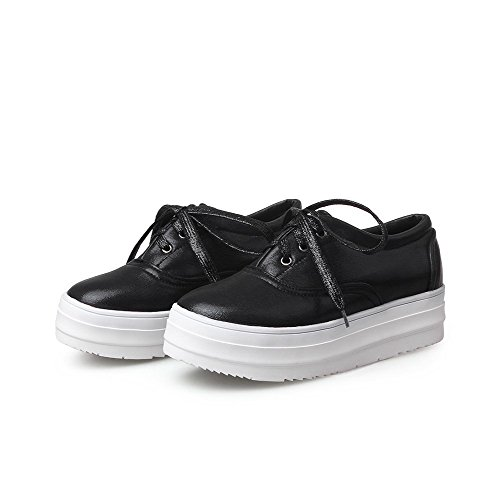 WeenFashion Solid Pu Shoes Black Toe Lace Women's Low Round up Pumps Heels Closed rTrSqx