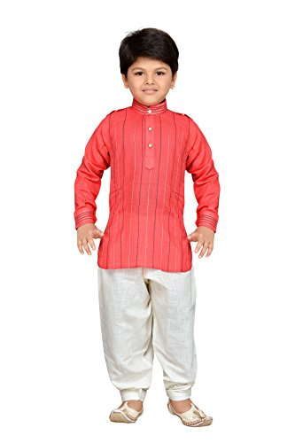 AJ Dezines Kids Indian wear Bollywood Style Pathani Suit for Boys (703-PEACH-9) by AJ Dezines