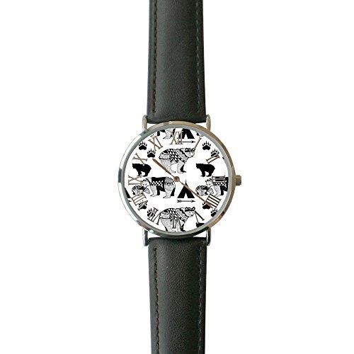 SINGDADFF Women's Geo Bear Casual Watch Fashion Leather Analog Wrist Watches ()