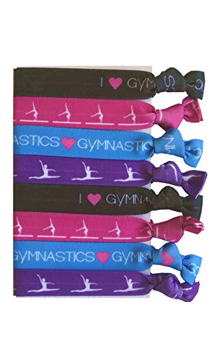 8 Piece Gymnastics Hair Elastic Set - Accessories for Gymnasts, Women, Girls, Gymnastics Teachers and Coaches, Gymnastics Classes - MADE in the USA (Best Gymnastic Coaches In Usa)