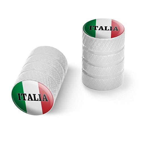 オートバイ自転車バイクタイヤリムホイールアルミバルブステムキャップ - ホワイトイタリアイタリアイタリアの旗
