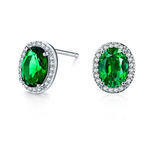 SBLING Platinum-Plated AAAA Cubic Zirconia Oval Halo Stud Earrings (1.90 cttw; Green) ()