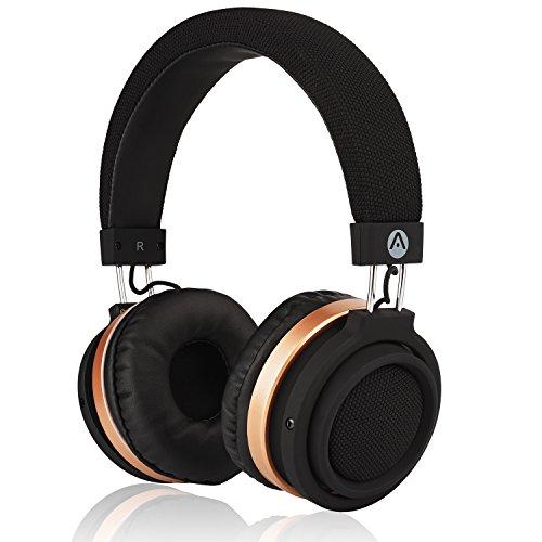 Audiomate BT970 Compact Stereo HD Audio Bluetooth Wireless Over-Ear Headphones   Built-in Microphone   Hidden Remote Controls   TruBass Enhancement - Gold/Black