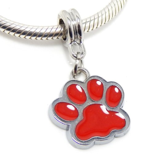 Paw Print Enamel (Jewelry Monster Silver Finish Dangling