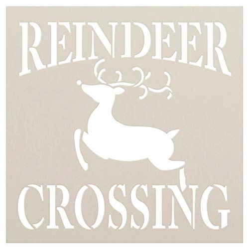 Reindeer Crossing Stencil with Curly Antlers by StudioR12 | Farmhouse Christmas Holiday Decor North Pole | Reusable Mylar Template | Paint Wood Signs | DIY Gift Home Crafting | Select Size (18
