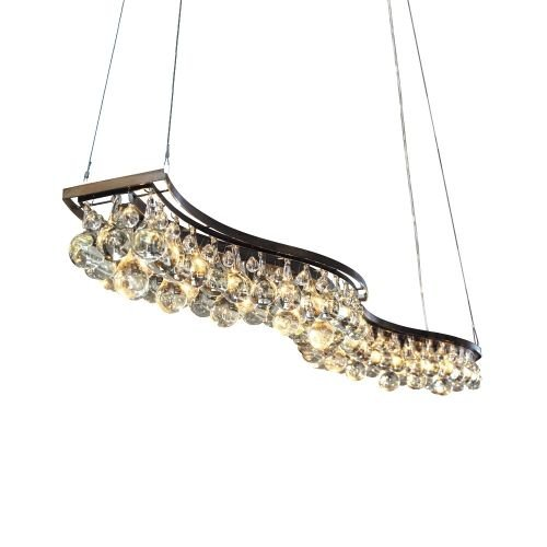 "OR303: Iconic 3-Tier Clear Murano Glass Vertical Wave Chandelier Lamp (30""-78"" L) $2,480+ (Iconic 3 Light Chandelier)"