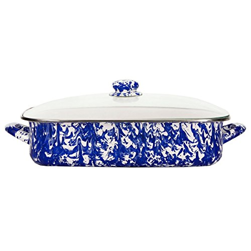 Enamelware -Colbalt Blue Swirl Pattern -16 x 12.5 x 4 inch Lasagna Pan - Blue Glasses Colbalt
