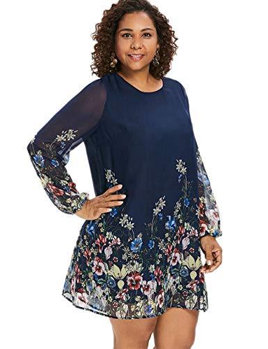 787b44d280f VSNOW Women s Plus Size Casual Floral Print Chiffon Long Sleeve A-Line  Shift Mini Tunic