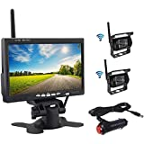 OiLiehu Wireless Backup Camera and Monitor Kit, 7 inch HD LCD Monitor with Antenna, 2 x Wireless Rear View Camera, IP67, Nigh