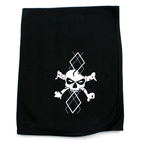 CrazyBabyClothing White Argyle Skull & Crossbones Baby Receiving Swaddle Blanket