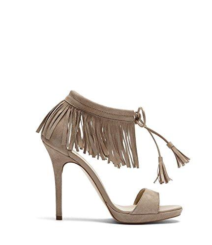 PoiLei Sandaletten Fransen Sommer Schuhe Lei Poi Damen Taupe mit Fenja Elegante 5Bxpnq0a