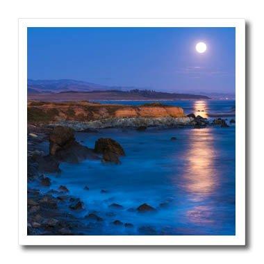 3dRose Danita Delimont - Oceans - Full moon rising over Piedras Blancas, San Simeon, California - 6x6 Iron on Heat Transfer for White Material (ht_278650_2) (Simeon San Light Two)