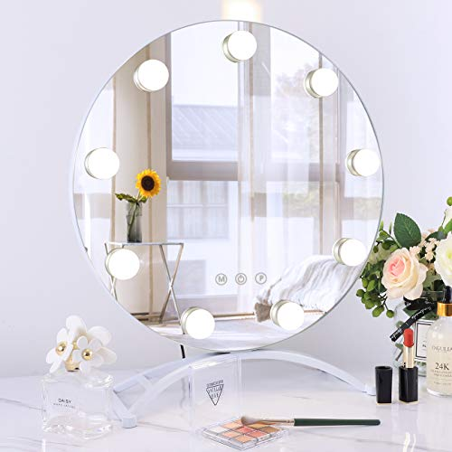 Hollywood Mirror with Light Large Lighted Makeup Mirror Vanity Makeup Mirror Smart Touch Control 3Colors Dimable Light Detachable 10X Magnification 40CM