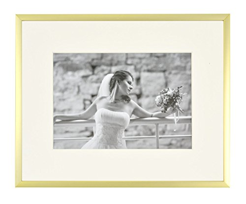 Frametory, Metal Picture Frame Collection, Aluminum Gold Photo Frame with Ivory Color Mat for Picture & Real Glass (8x10) - Modern Design: New Gold Color, Includes a Single Ivory Color mat (opening size: 4.5x6.5) for 5x7 picture (With Ivory Color Mat) or 8x10 picture (without Mat) Fully Assembled: An Easel Stand and 2 sturdy hangers in the back for vertical and horizontal hanging options. Saw tooth clips for easy opening and Ready-To-Hang Highest Quality: Highly Durable Aluminum Photo frame with Real Glass. Built to last, better protect from scratch - picture-frames, bedroom-decor, bedroom - 41zYLCwJjDL -