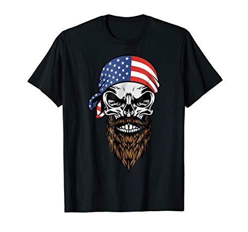 (American Beard Skull with USA Flag Head Bandana)