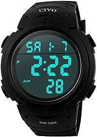 Men's Sport Watch by CIVO Multifunctional Military Waterproof Simple Design Big Numbers Digital LCD Screen Casual Watch with Microfiber Bonus