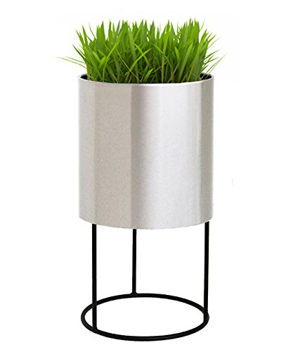 Knox Round Modern Planter w/Stand - 21.5''H x 12''W x 12''D - Brushed Finish - Round, Cylindrical - Stainless Steel - Tall, Big Plants,Trees, Best Stand - NMN Designs