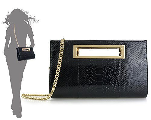 with Patent Hoxis Clutch Shoulder Crocodile Handbag Classic out Strap Faux Metal it Womens Champagne Leather Grip Cut Pattern I1gw7